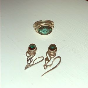 Green quartz ring and earring set